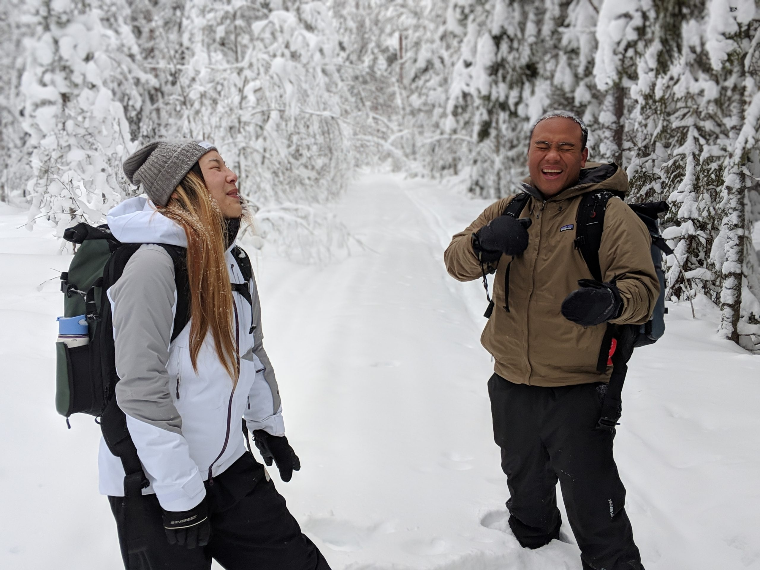Carl and Adrienne winter hiking
