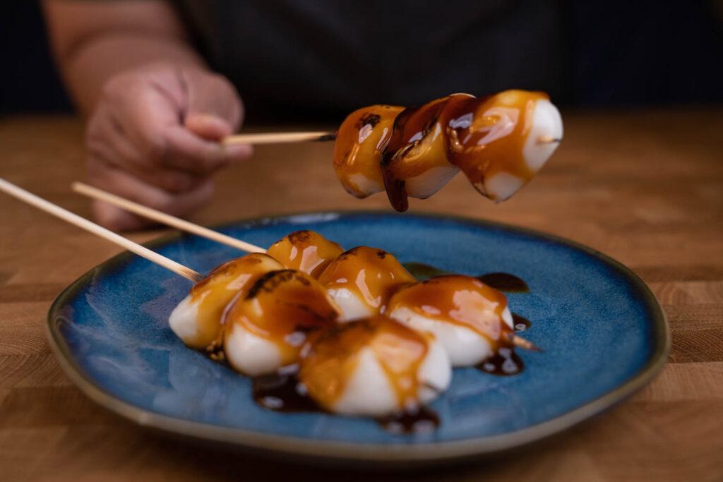 soy sauce glaze on (mitarashi) dango