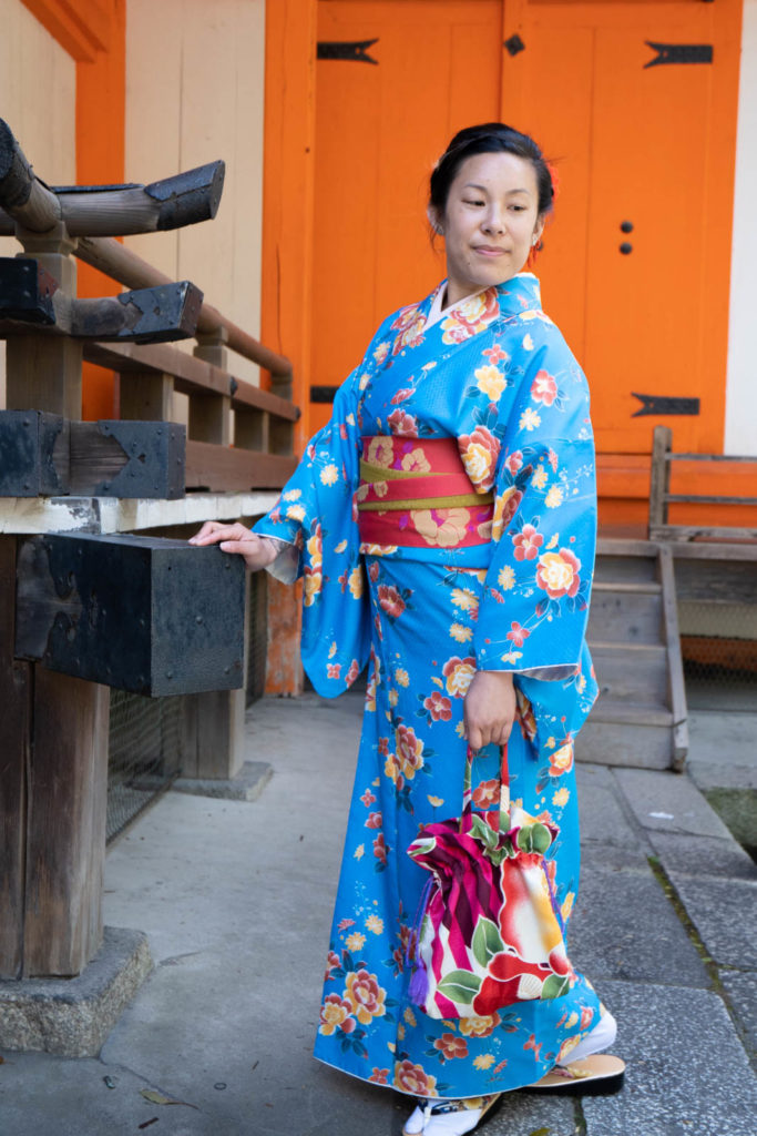 Adrienne in a kimono, Kyoto, Japan