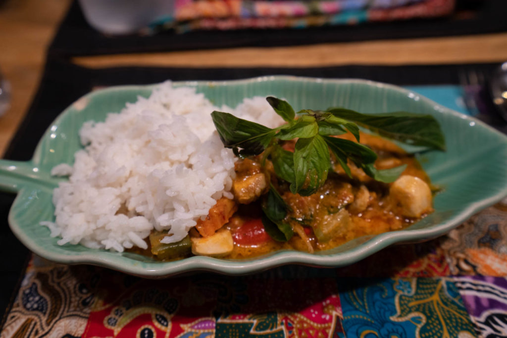 Red curry with chicken, Silom Thai Cooking School, Bangkok, Thailand