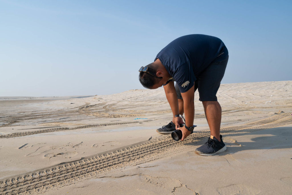 Always striving for the shot, Sand dunes of Mesaieed, Qatar