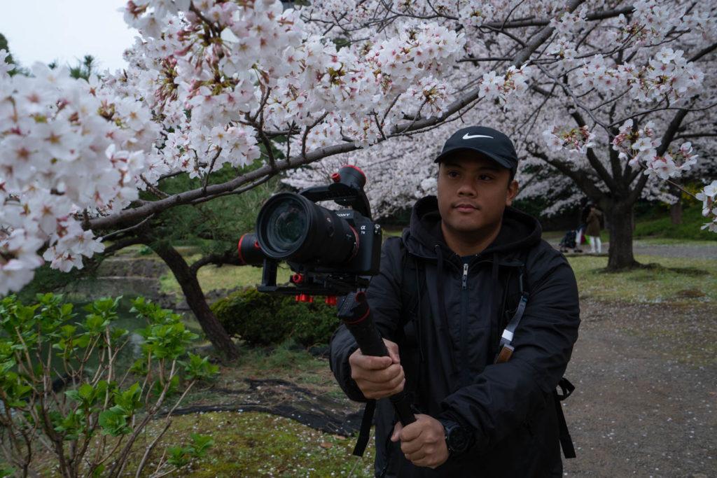 Carl recording cherry blossoms, Tokyo, Japan