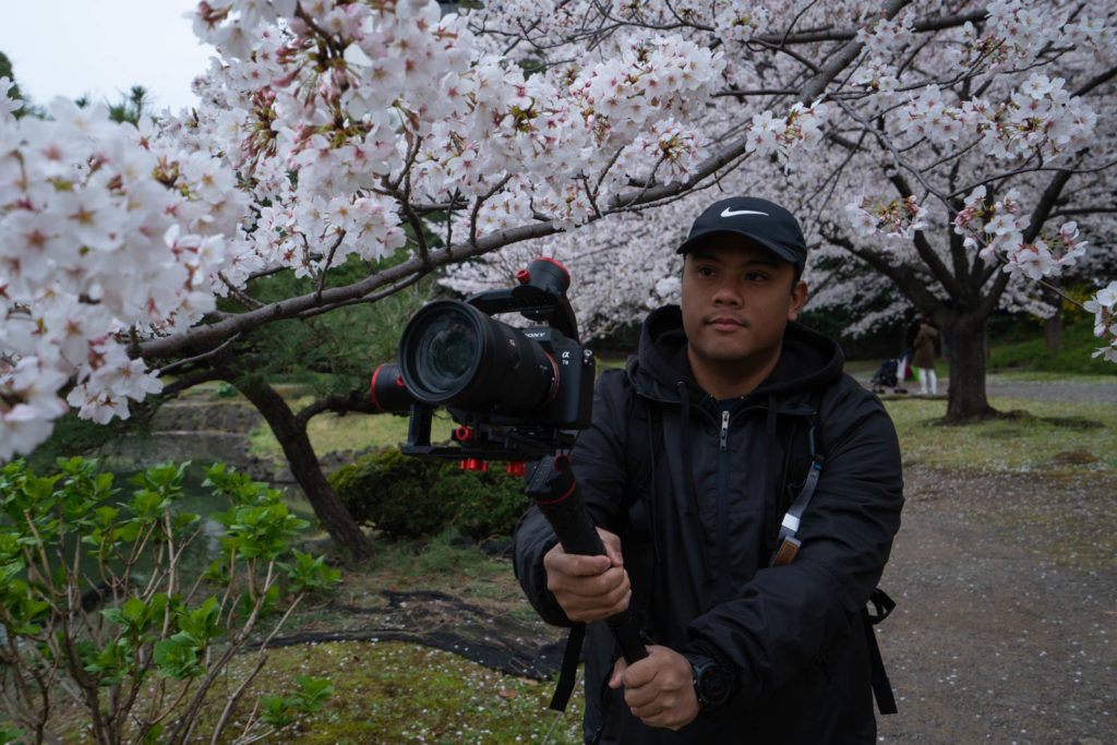 Carl recording cherry blossoms