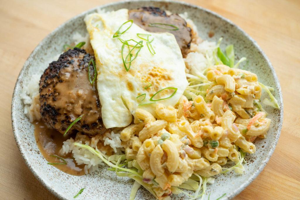 Loco Moco Hawaiian lunch plate
