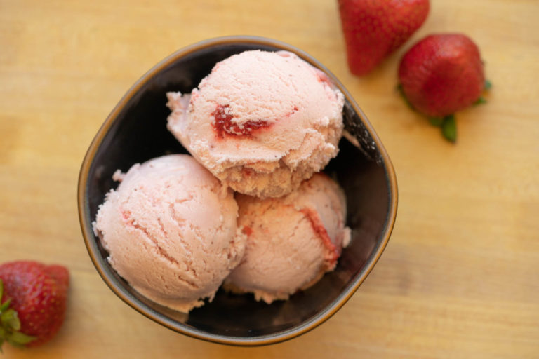 Cooked Frozen Strawberry Ice Cream