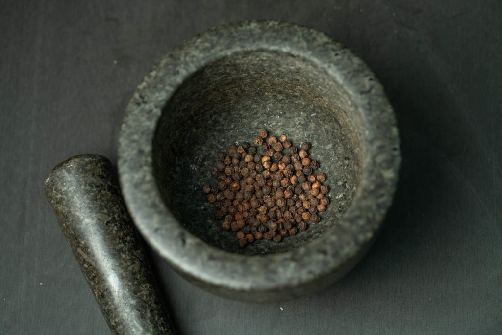 Coarsely grind your peppercorn