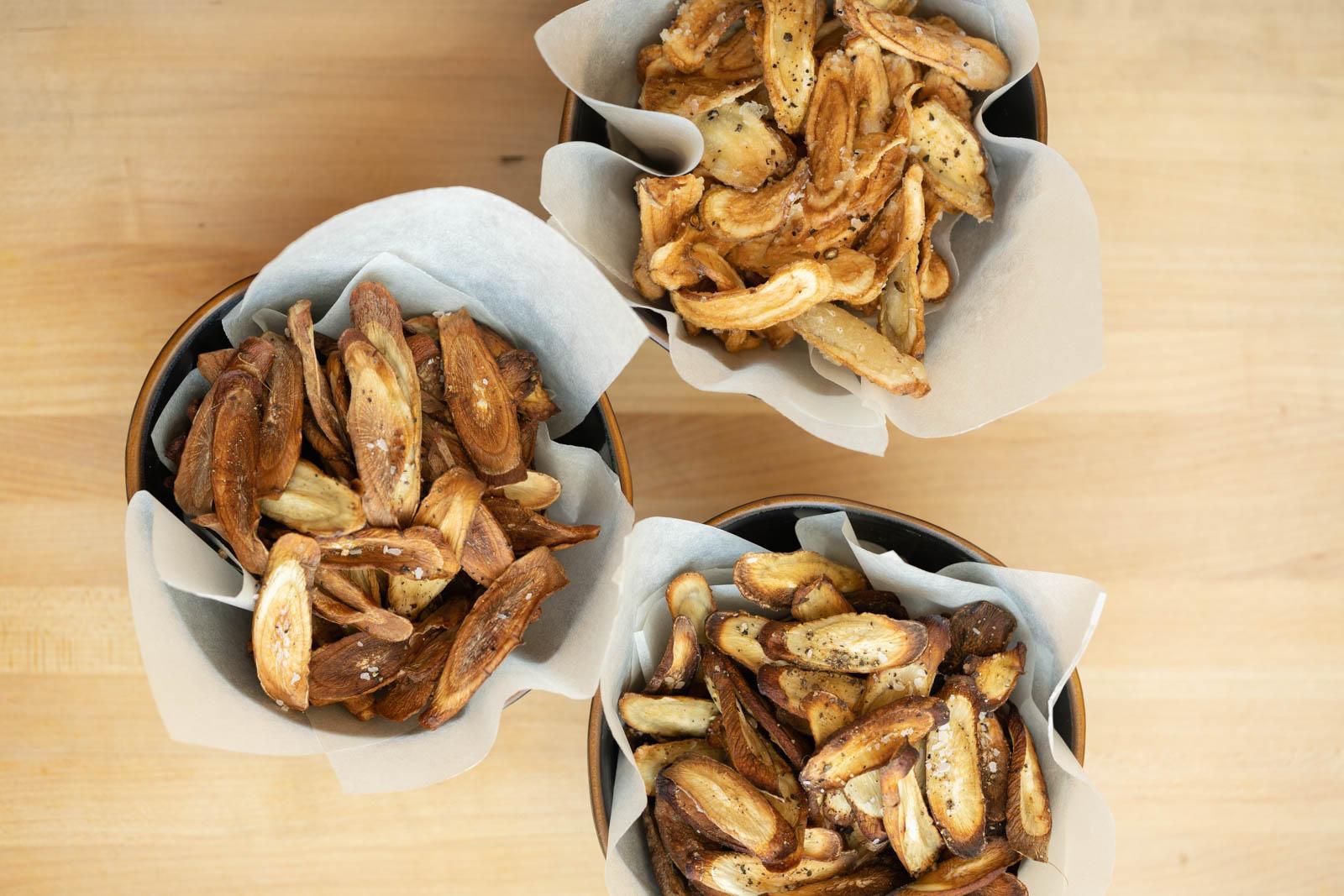 burdock root (gobo) chips, 3 ways