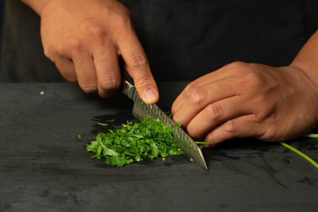 Chop up cilantro