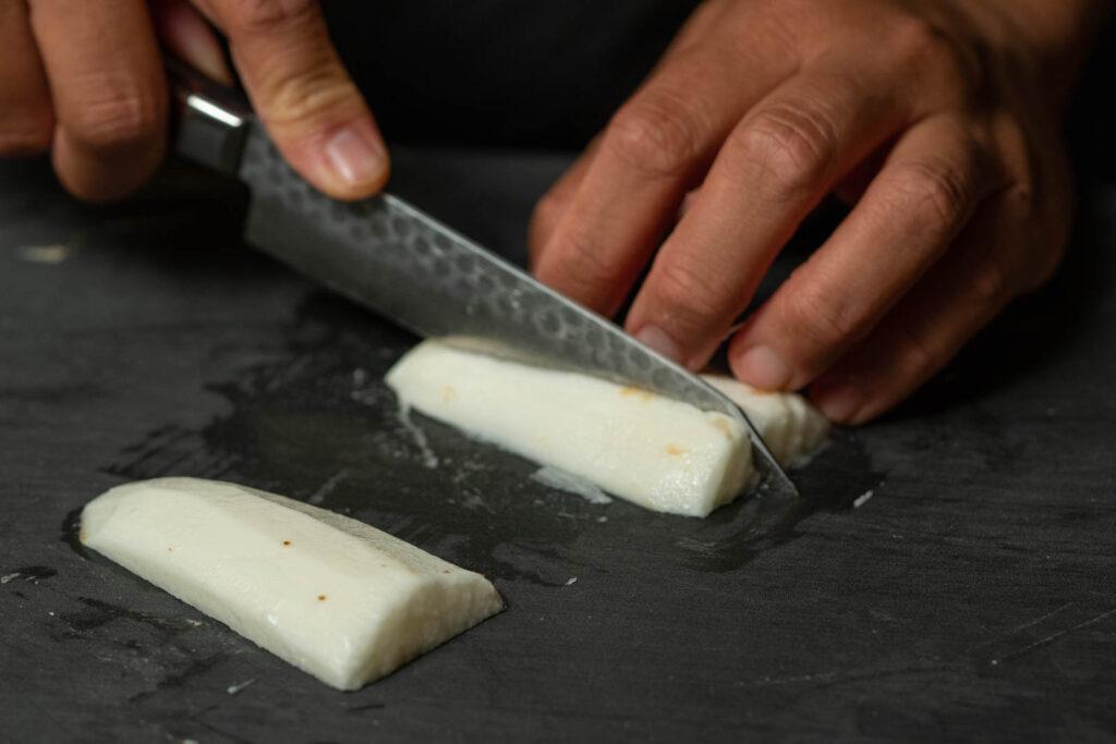 Peel & cut nagaimo into chunky fries