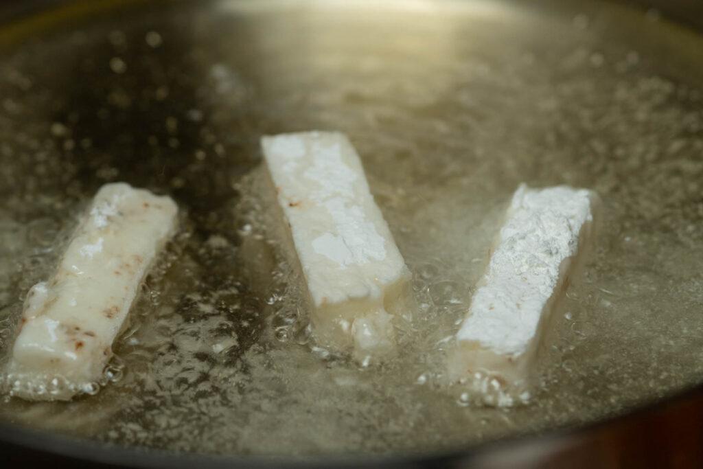 Fry nagaimo pieces twice