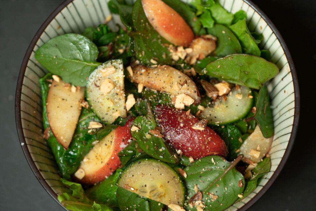 Malabar Spinach & Nectarine Salad