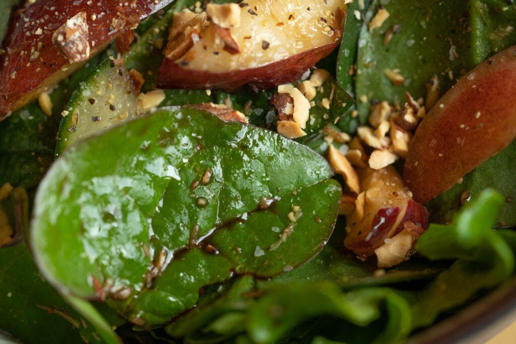 Detail: Malabar Spinach & Nectarine Salad