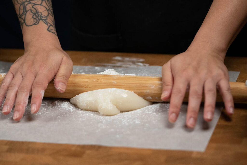 rolling out mochi