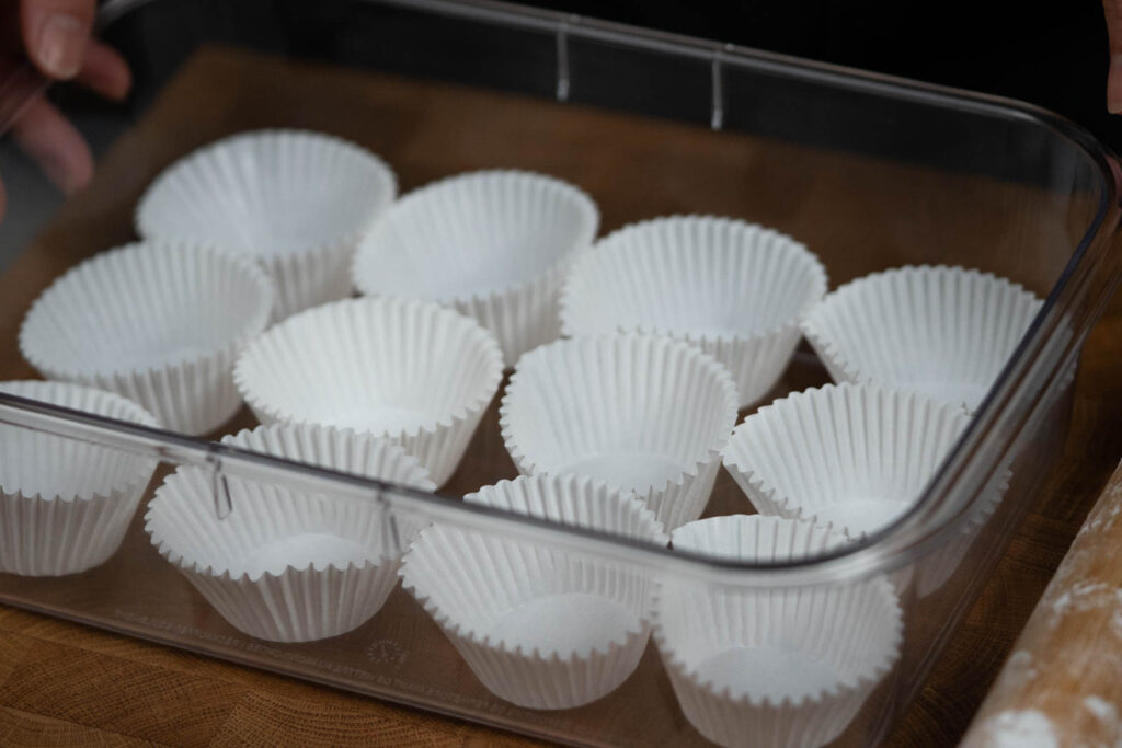 prepped cupcake liners