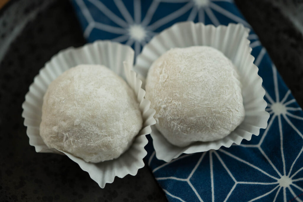 Homemade mochi made from rice