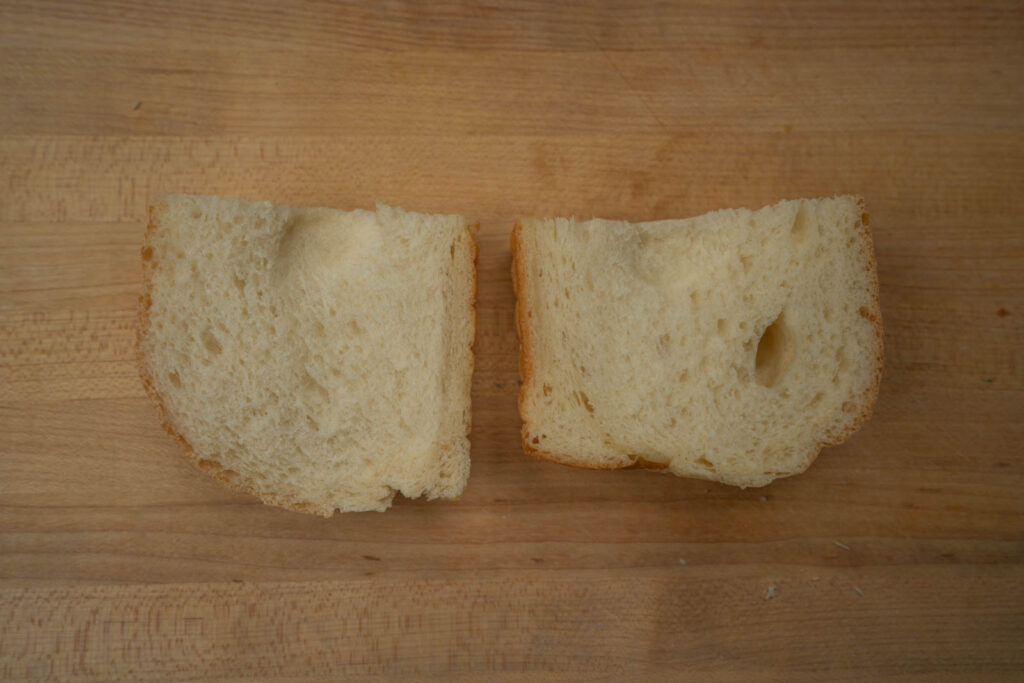Sliced milk bread. Chopstick Chronicles (L), Umi's Baking (R)