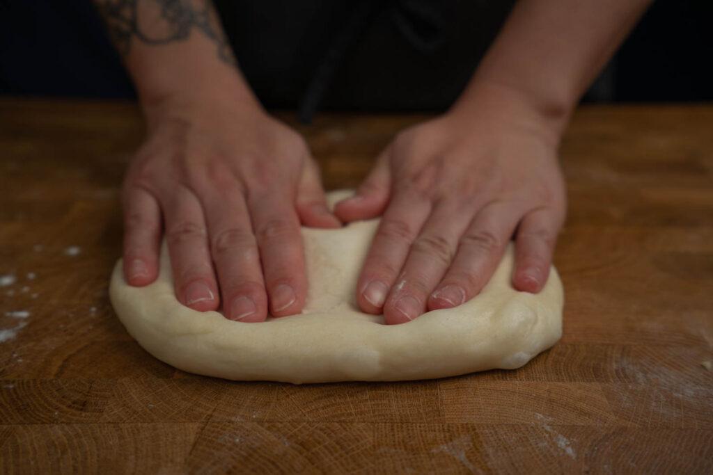 Inga Lam's milk bread - shaping loaf
