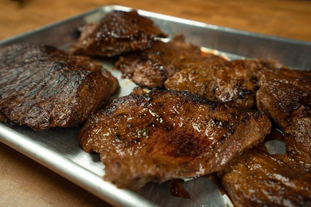 Pan seared flap meat