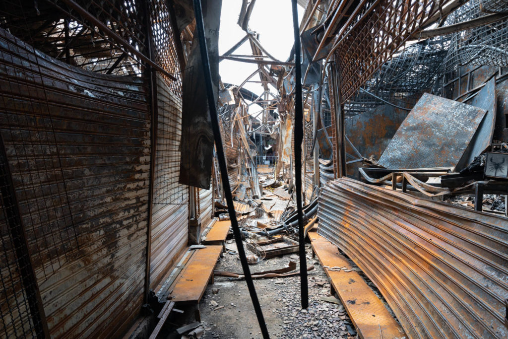 Recently burned area, Chatuchak Weekend Market, Bangkok, Thailand