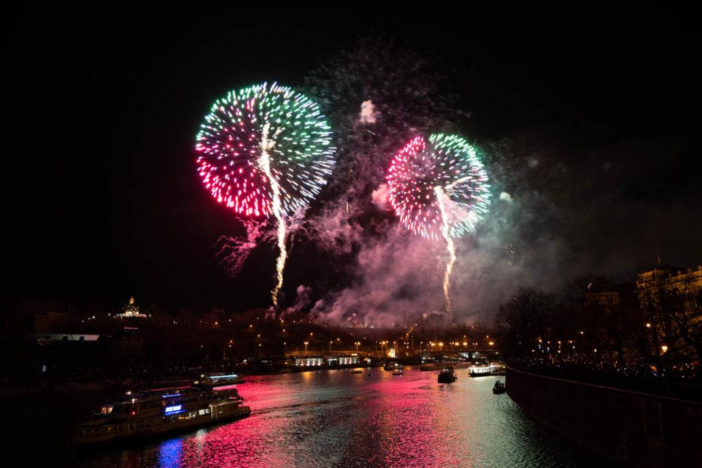 New Years Day Fireworks, Mánes Bridge (Mánesův most), Prague