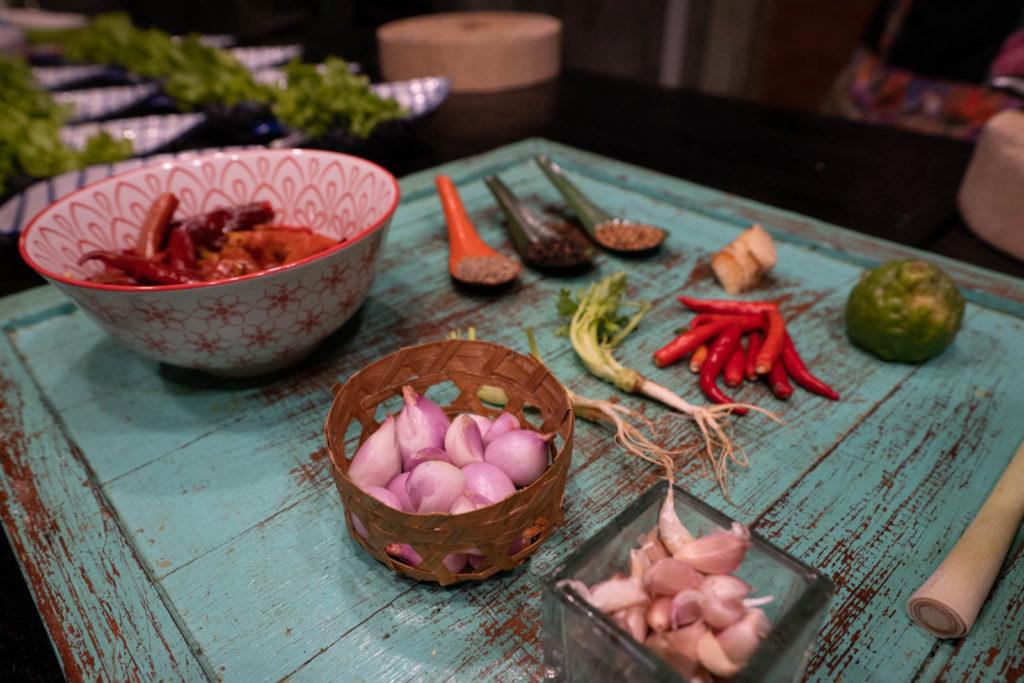 Common spices and aromatics, Silom Thai Cooking School, Bangkok, Thailand