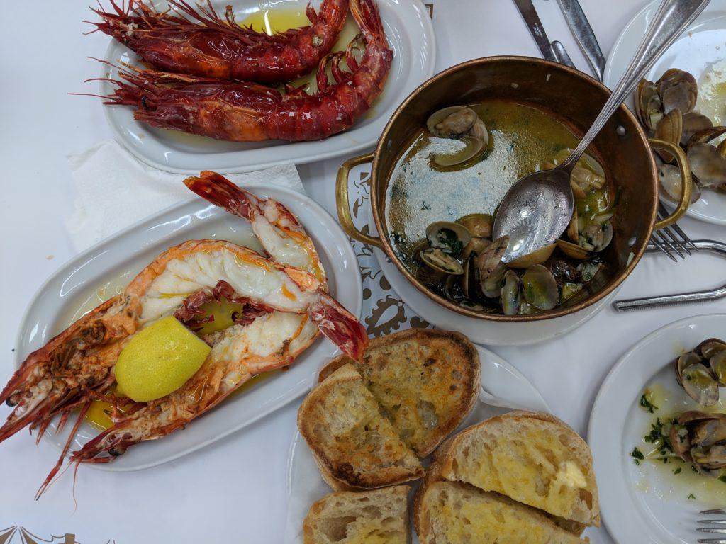seafood spread at Cervejaria Ramiro, Lisbon, Portugal