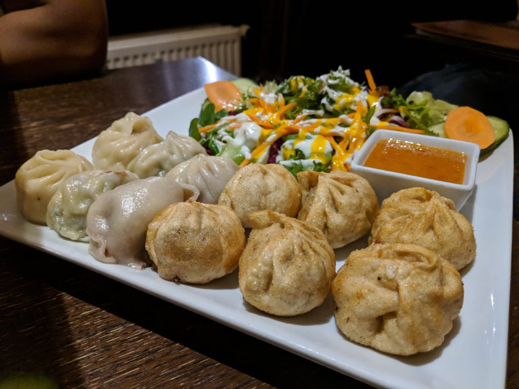Mixed momos plate, Tibet Haus, Berlin, Germany