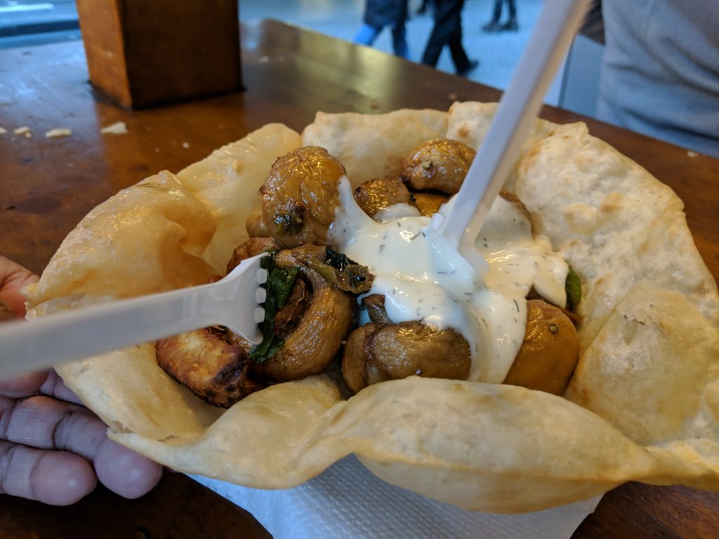 mushroom and potato wedges, Winter World on Potsdamer Platz