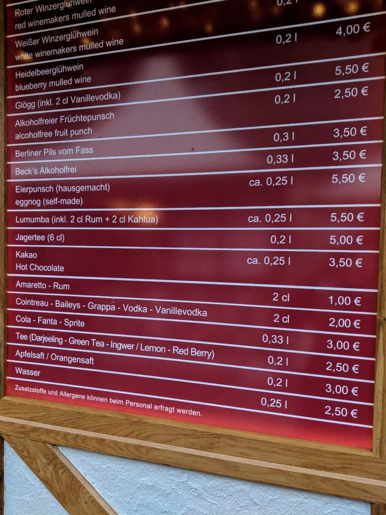 Hot drinks menu, Weihnachtszauber at the Gendarmenmarkt, Berlin