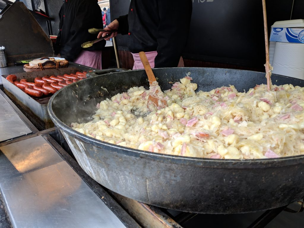 potato sauerkraut, Christmas Market, Old Town, Prague