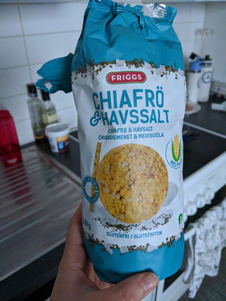 tasty chia and salt rice crackers
