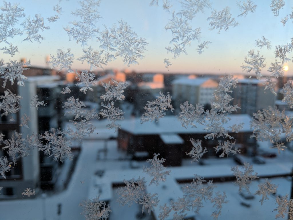 Snowflakes on the window, Winter sunrise, Tampere, Finland
