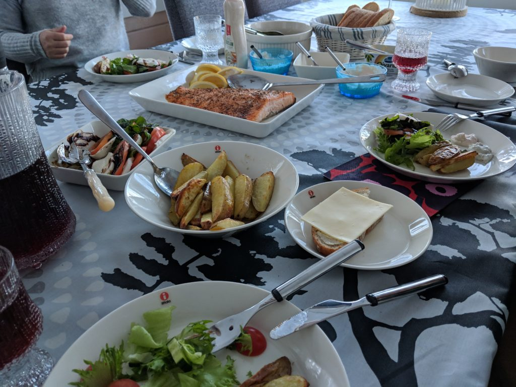 typical Finnish home spread for lunch at the cabin, Tampere