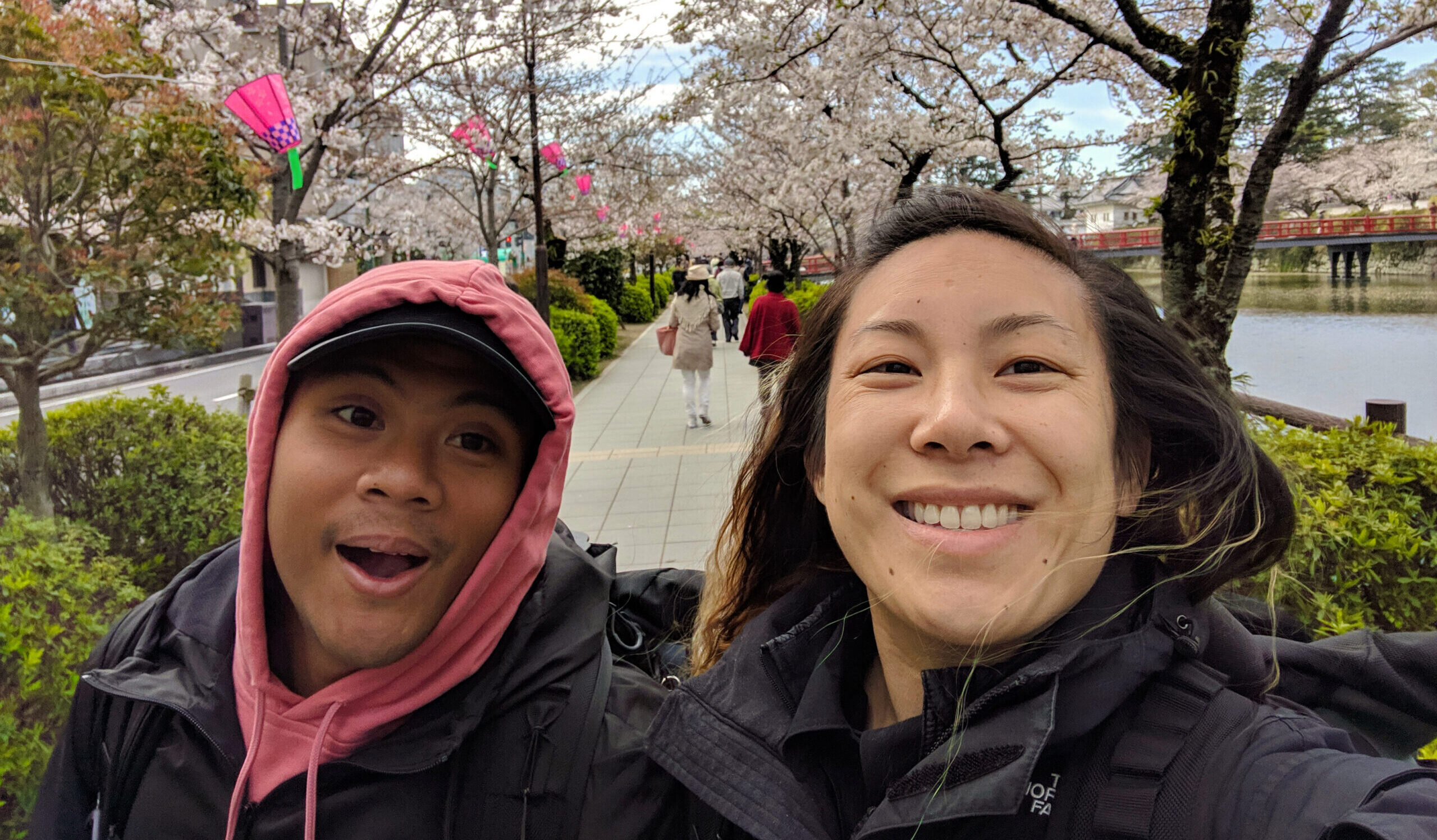 Carlienne in Japan with cherry blossoms