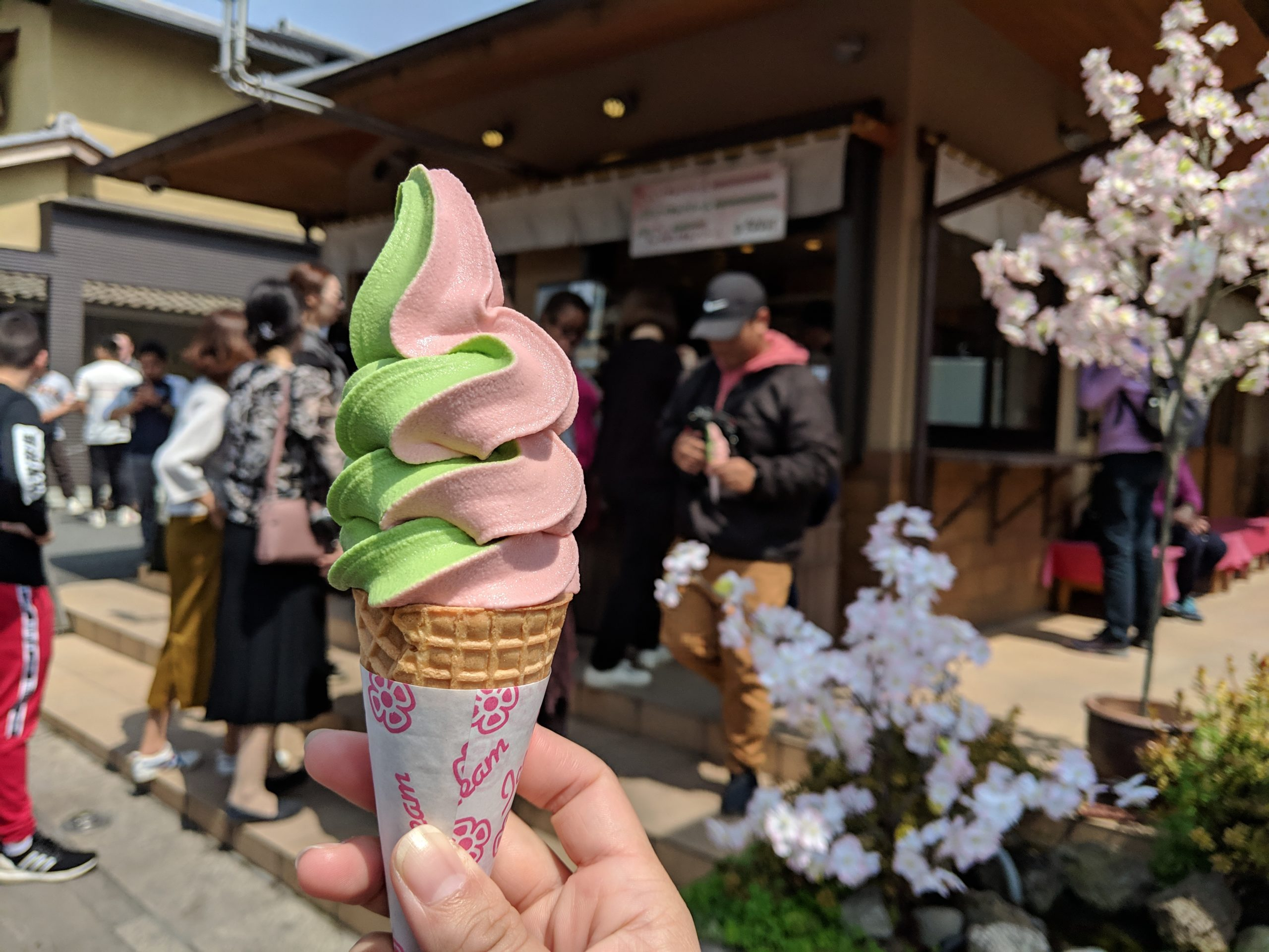 soft serve outside of Saga Tofu Ine Head Store, Arashiyama, Kyoto