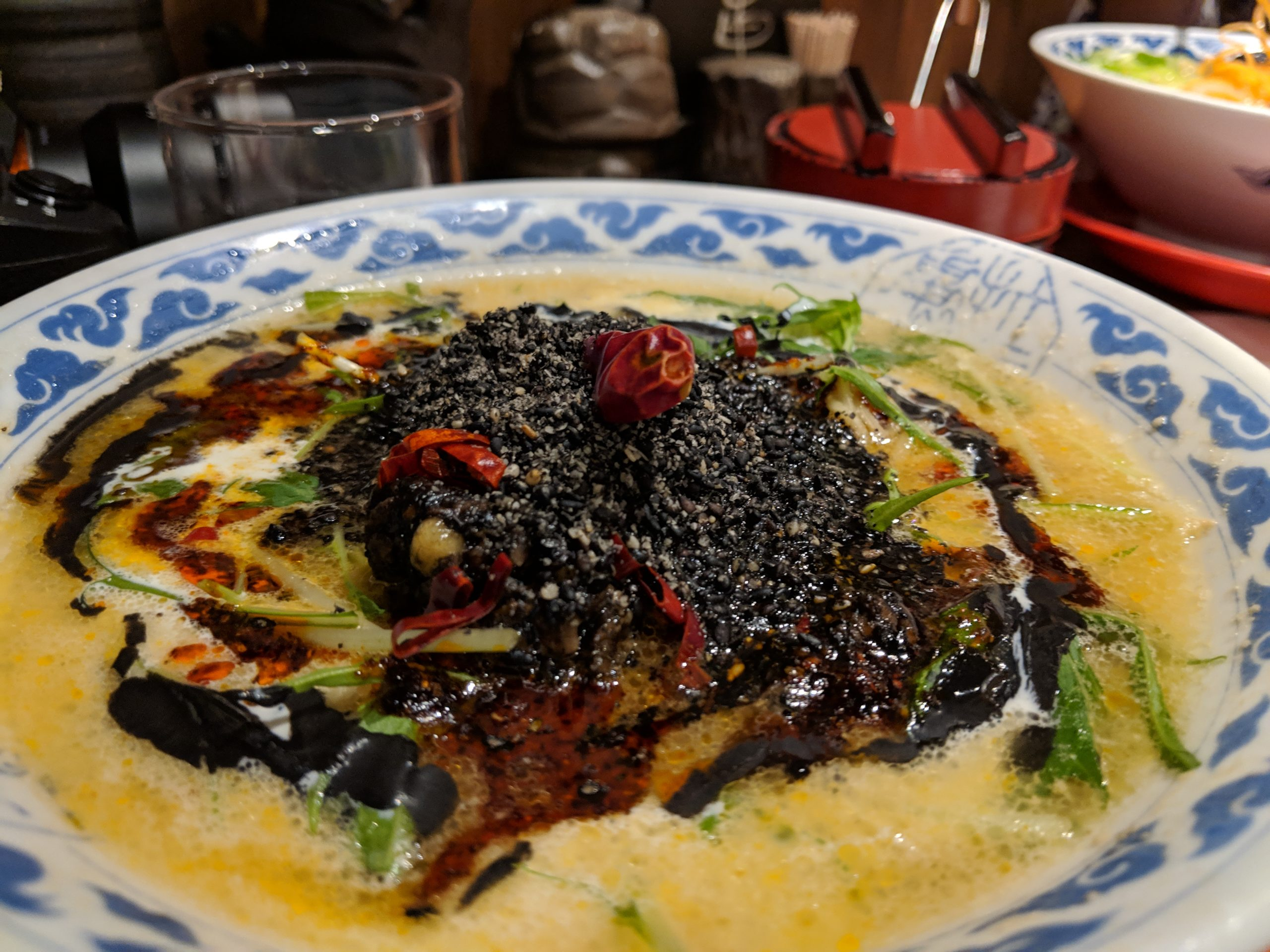 black sesame tan-tan, Kyushu Ramen Kio Namba-NGKmae, Osaka