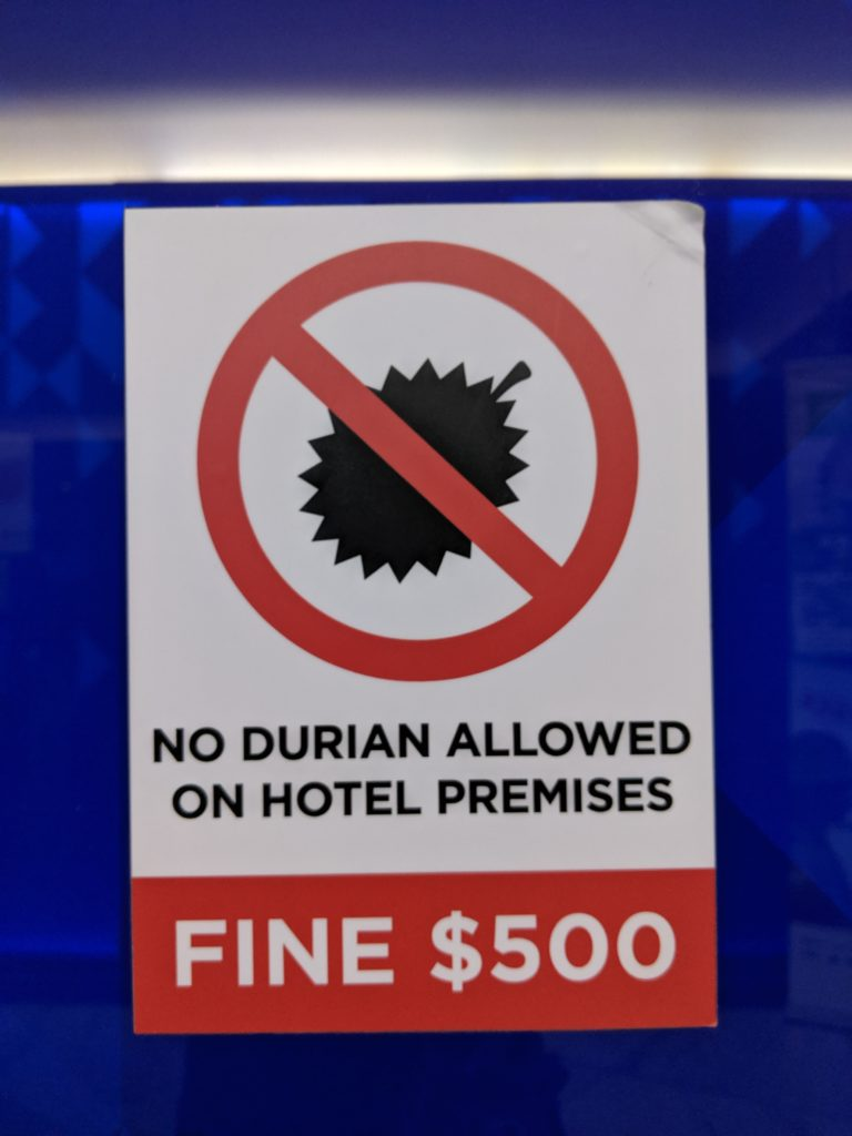 sign for durian fines, singapore