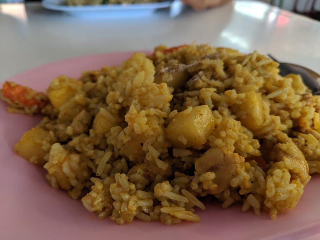 Curry rice, Food stall at Seni Market. Bangkok, Thailand