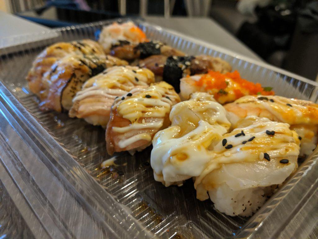 Bang Wa station street food: sushi. Bangkok, Thailand