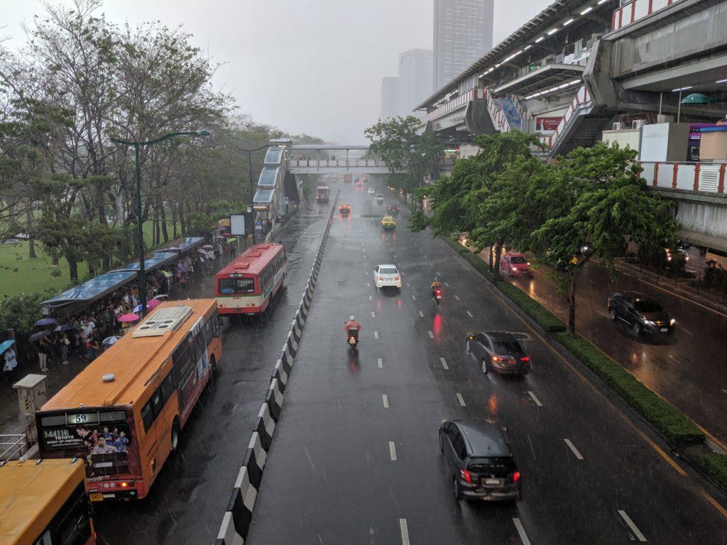 Torrential rain by Mo Chit BTS station, Bangkok, Thailand