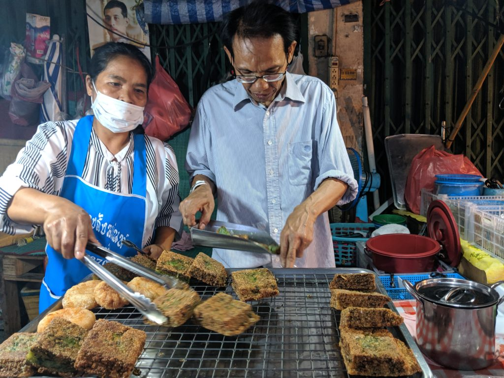 Bang Wa station street food: fried green onion cake. Bangkok, Thailand
