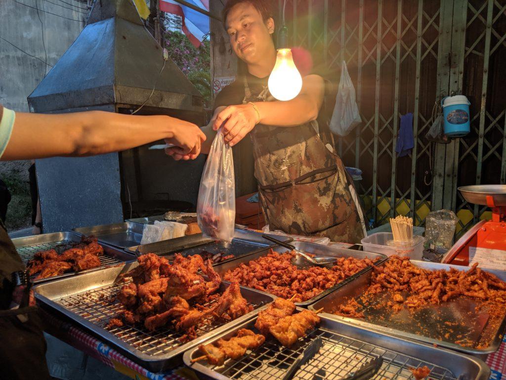 Bang Wa station street food: fried chicken. Bangkok, Thailand