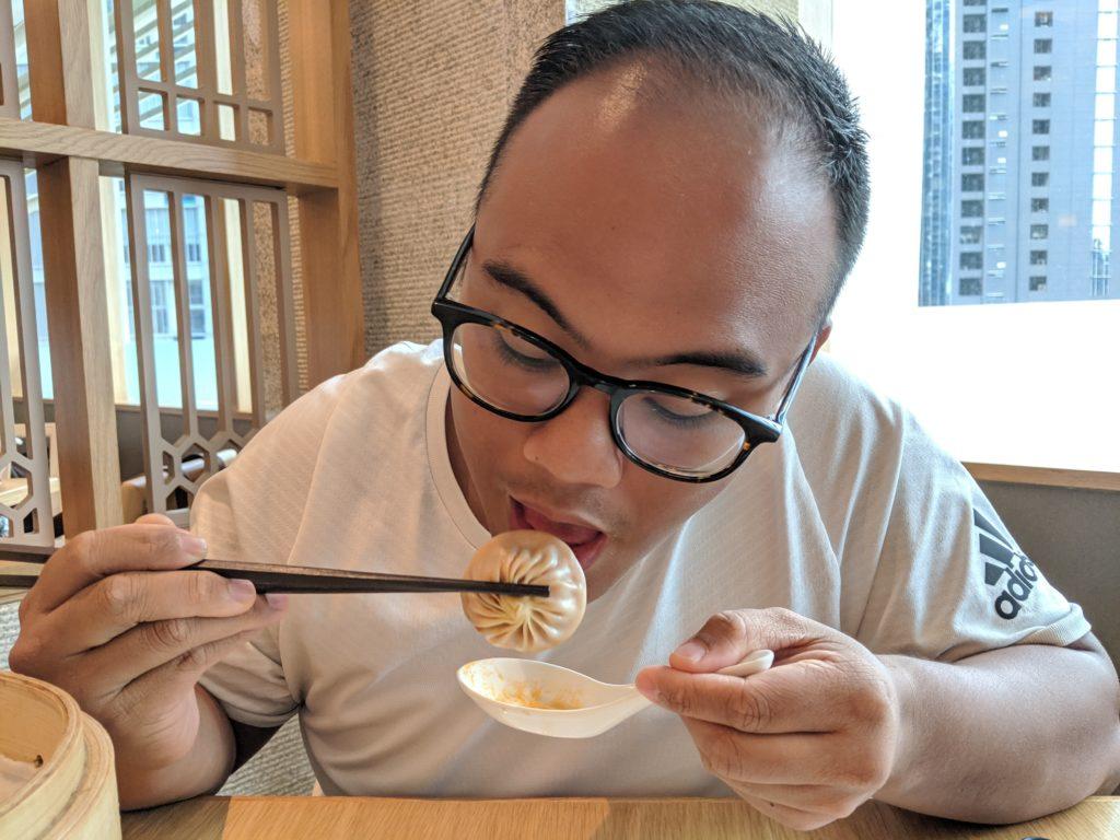 Carl eating XLB, DIN, Kuala Lumpur, Malaysia