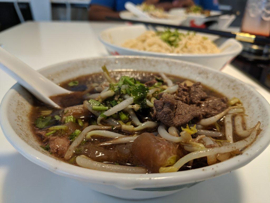 garlic noodles and beef soup, Nuromen Cafe, Kuching, Malaysia