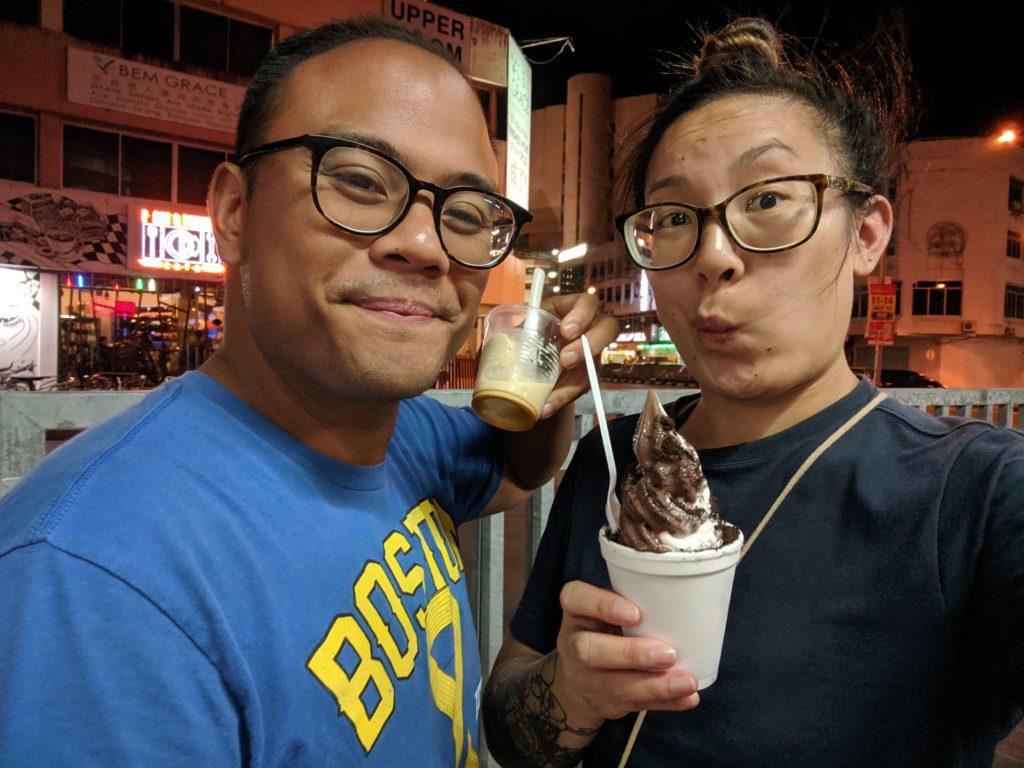 ice cream from Palm Sugar ice cream from DP Ice Cream Gula Apong and Chocolate Vanilla mix from the stand next door, Kuching, Malaysia
