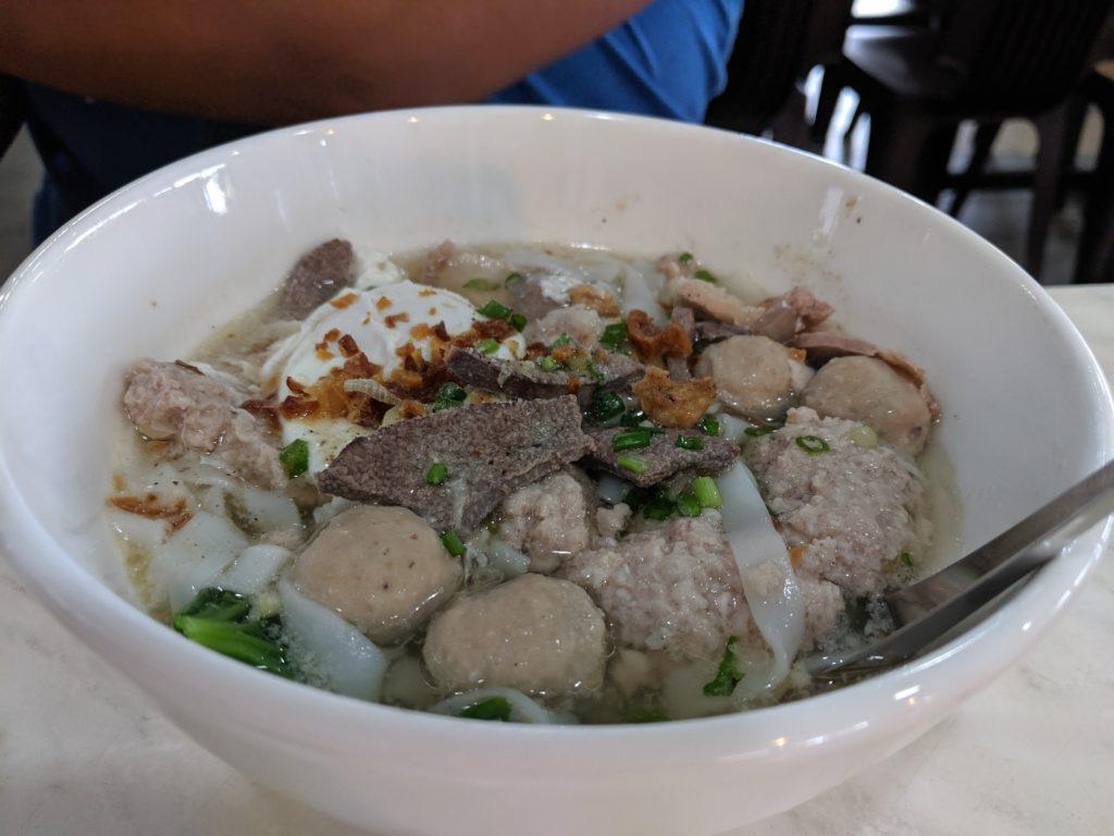 meatball noodles, Kopitam Apple Cafe, Kuching, Malaysia