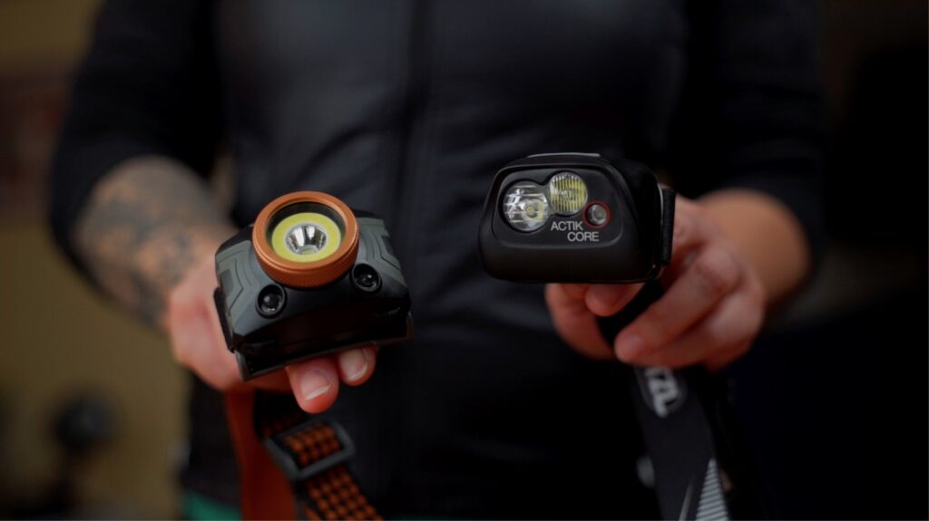 Comparing the Duracell with the Petzl headlamp
