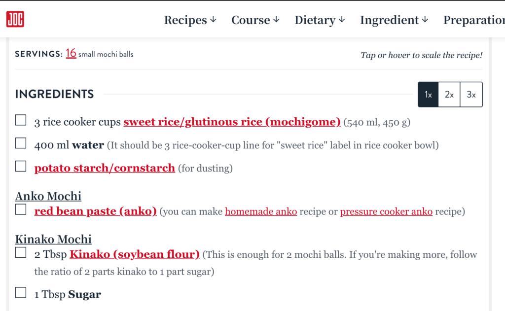 screenshot of Just One Cookbook Mochi recipe