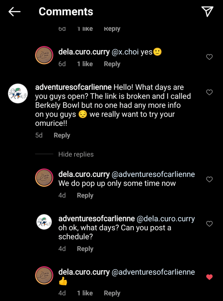 screenshot of Dela Curo Curry's Instagram reply