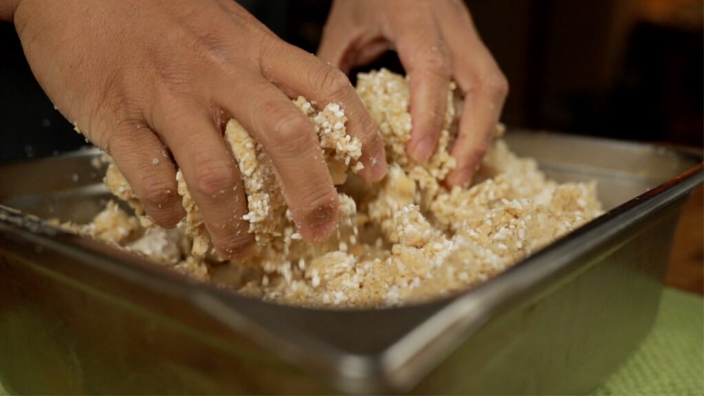 making miso from scratch: mix the koji and soybean mash